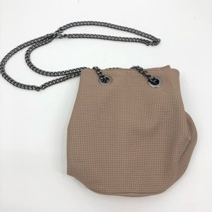 New Deux Lux Taupe Hobo Black Chain Strap Purse